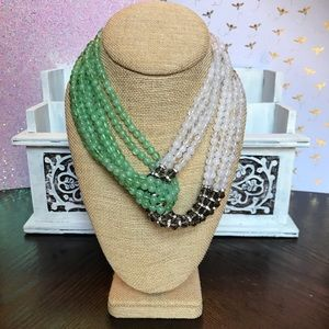 Gorgeous Green & White Bead Criss Cross Necklace